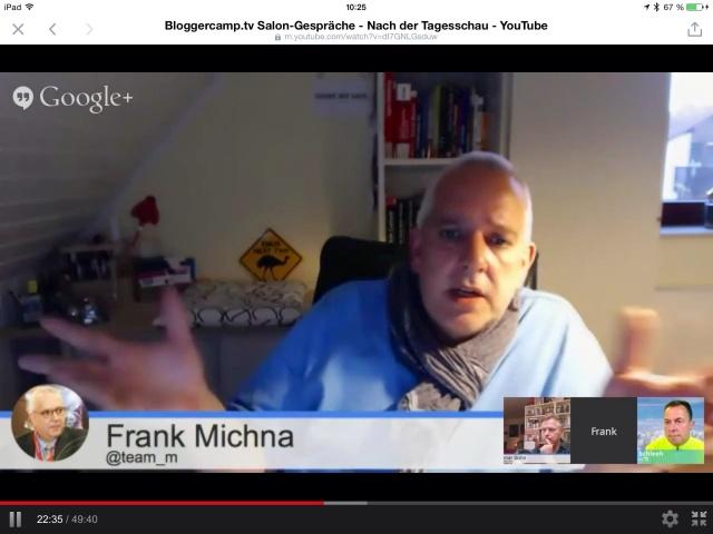 Frank Michna bei seiner Premiere als neues Bloggercamp.tv-Mitglied