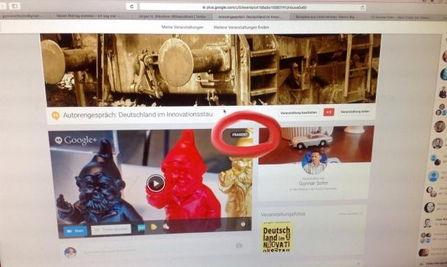 Google Plus-Eventseite - Hinweis auf Frage-Button!