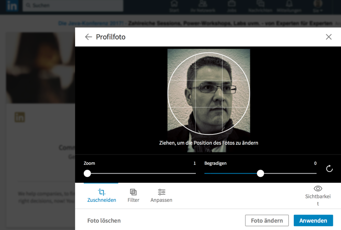 Hintergrundbilder bei LinkedIn